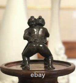 Rare 19th Century Japanese Hand Carved Wooden Sumo Wrestler Sculpture SIGNED