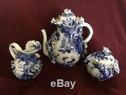 Rare 19th Century Japanese Hirado Ware Highly Detailed Teapot, Cream, and Sugar