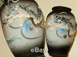 Rare - 3 Consecutively Larger Antique Japan Porcelain Vases Moriage Dragonware
