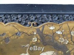 Rare Antique 19th Century Japanese Meiji Shibayama Wooden Panel 2 Cranes