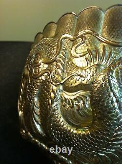 Rare Antique Asian Meiji Dragon Bowl-intricate Design, Silver On Copper/bronze
