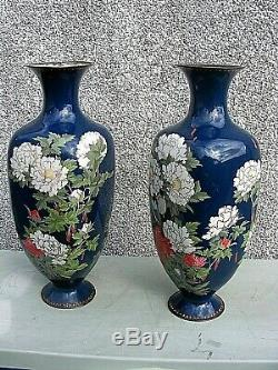 Rare Antique Cloisonne Vases Japanese Large 24 Inches