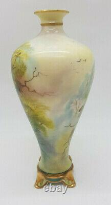 Rare Antique Jame Stinton Royal Worcester Peacock Painted Vase Signed