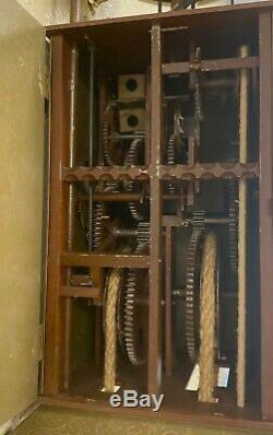 Rare Antique Japanese Double Foliot Striking Lantern Wall Clock Kake Dokei