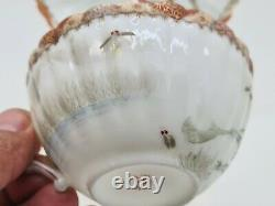 Rare Antique Japanese Fine Porcelain Cup & Saucer Satsuma Kutani Frogs AE1