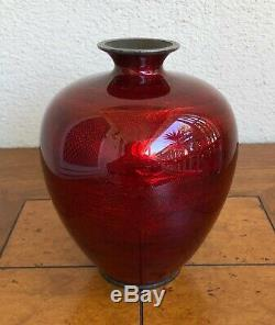 Rare, Antique Japanese Ginbari Enamel Red Cloisonne Ovoid Form Vase. 19th C