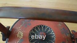 Rare Antique Japanese Lacquer Teapot With Flowers Design