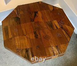 Rare Antique Japanese Meiji Marquetry Parquetry Specimen Inlaid Octagonal Table