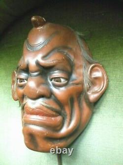 Rare Antique Japanese Meiji Period Life Sized Noh Mask With Glass Eyes And Stand