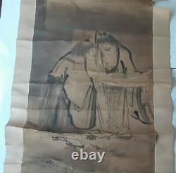 Rare Antique Japanese Sesshu Toyo Scroll Painting Of Zen Kanzan & Jittoku