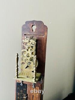 Rare Antique Japanese Shaku Dokei Pillar Wall Clock