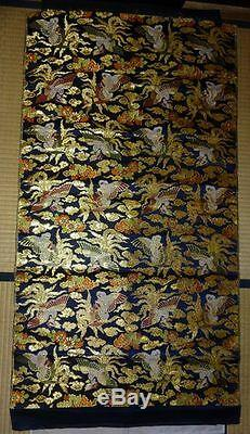 Rare Antique Japanese Silk Gold Brocade Textile Hanging Scroll Priest Noh Doll