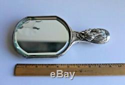 Rare Antique Kuhn & Komor Silver Chinese Export Japanese Iris Hand Vanity Mirror