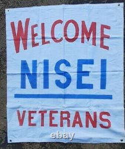 Rare Antique Militaria WWII Welcome JAPANESE NISEI USA VETERANS Banner SEATTLE
