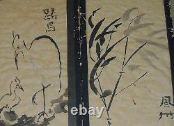 Rare Antique Mystery Pair of Beautiful Ink Japanese Paintings Signed