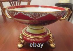 Rare Antique Noritake 2PC Comport Centrepiece Bowl Red M Mark 1921-1941
