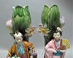 Rare Art Nouveau FRIE ONNAING FRENCH MAJOLICA Vases with Japanese Figures c. 1900