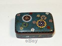 Rare Bronze Japanese Cloisonne Blue Enamel Floral Stamp Jar Box