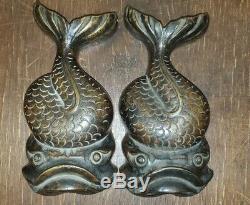 Rare Cast Bronze Japanese Koi Fish Statue Pair 1920s Heavy Beautiful Patina