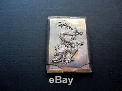 Rare Chinese/Japanese Sterling Silver Dragon Vesta Case/Match Safe