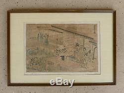 Rare Early 18th Century Katsushika Hokusai Woodblock Print Circa 1780