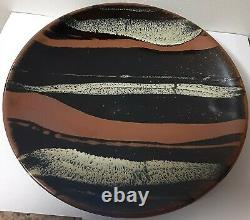 Rare Early Mashiko(afterHamada) Glazed Stoneware Pottery Plate With Swirl Design