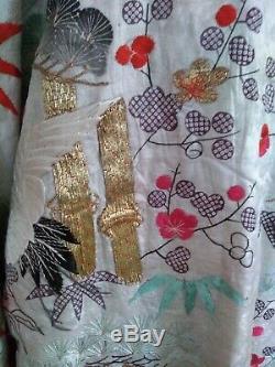 Rare Edo Antique Silk Embroidered Japanese Uchikake Kimono Robe Gold Thread