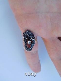 Rare Imperial Japanese Meiji 19th Century 1890 Silver Gold Diamond Dragon Ring