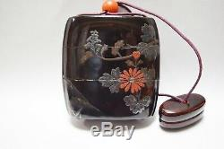 Rare Japanese Antique Lacquered Wooden Makie ornamental box INRO Netsuke (b151)