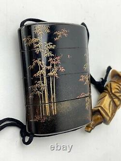 Rare Japanese Antique Wooden Ornamental box INRO Antler Netsuke (b733)