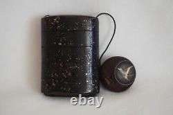 Rare Japanese Antique Wooden ornamental box brown INRO Netsuke 2 sets (b160)