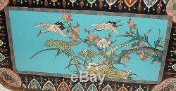Rare Japanese Bronze Cloisonne Enamel Cranes And Insect Tray Plate