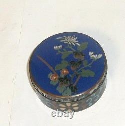 Rare Japanese Cloisonne Blue Enamel Floral Designed Jar Box