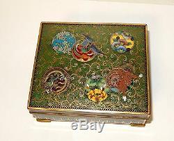 Rare Japanese Cloisonne Green Enamel Humidor Jar Box