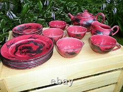 Rare Japanese Dragon Ware Antique Tea Set 18 piece Red and Black Made in Japan