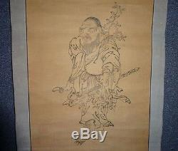 Rare Japanese Edo Period Buddhist Hanging Scroll Sarutahiko Okami Tengu God Zen
