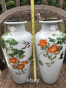 Rare Japanese Imperial Presentation Cloisonné Vases in wooden case with history