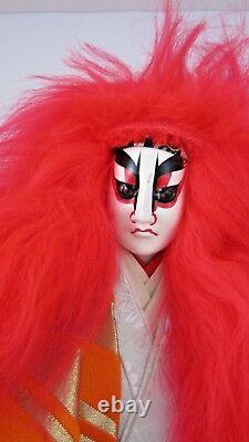 Rare Japanese Kabuki Red Lion Dancer Doll Renjishi Theater Folklore Silk Play