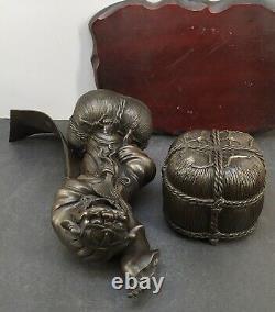 Rare Japanese Meiji Bronze Okimono Incense Burner Dragon Dancer