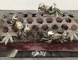 Rare Japanese Meiji Bronze & Silver Okimono Crabs On A Net