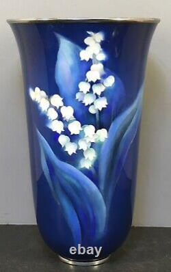 Rare Japanese Meiji Taisho Ando Cloisonne Vase With Lily Of The Valley