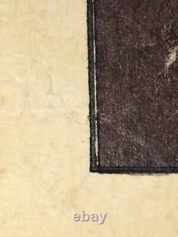 Rare Japanese Woodblock Original, Elizabeth Eaton Burton, Weeping Cherry Blossom
