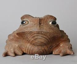 Rare Japanese Wooden Frog Okimono object AA9