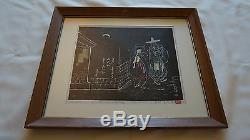 Rare Korean Woodblock Print by Korean Artist Han Jin Hae 1969 Signed & Numbered