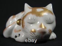 Rare Kutani Sleeping Cat Nemuri Neko Hand Painted Japanese Antique