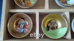 Rare Kutani ware Ochoko Shichifukujin 7 pieces Seven Lucky Gods Sakazuki gift