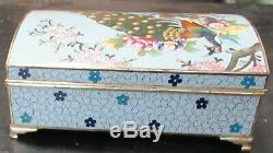 Rare Large Inaba Peacock Blossom Cloisonne Blue Enamel Music Jewelry Box Signed