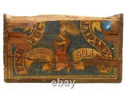 Rare Late 19th C American Antique Wood Box Japanese Soap Crate/orig Paper Labels