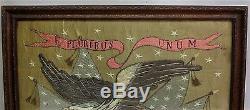 Rare MEIJI-ERA JAPANESE EXPORT Silk Embroidery AMERICAN EAGLE c. 1870 antique