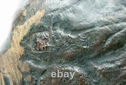 Rare Meiji Period Japanese Bronze Cat Okimono Maruki Company Seal Poss Atsuyoshi